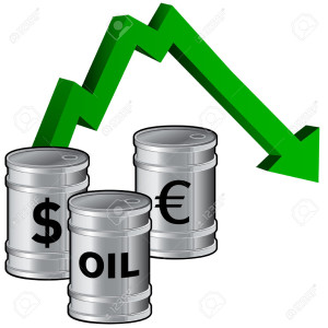 4695206-Oil-prices-dropping-vector-illustration-of-fuel-barrels-with-currency-icons-and-a-down-arrow-signify-Stock-Vector